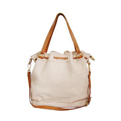 leather bucket bag beige
